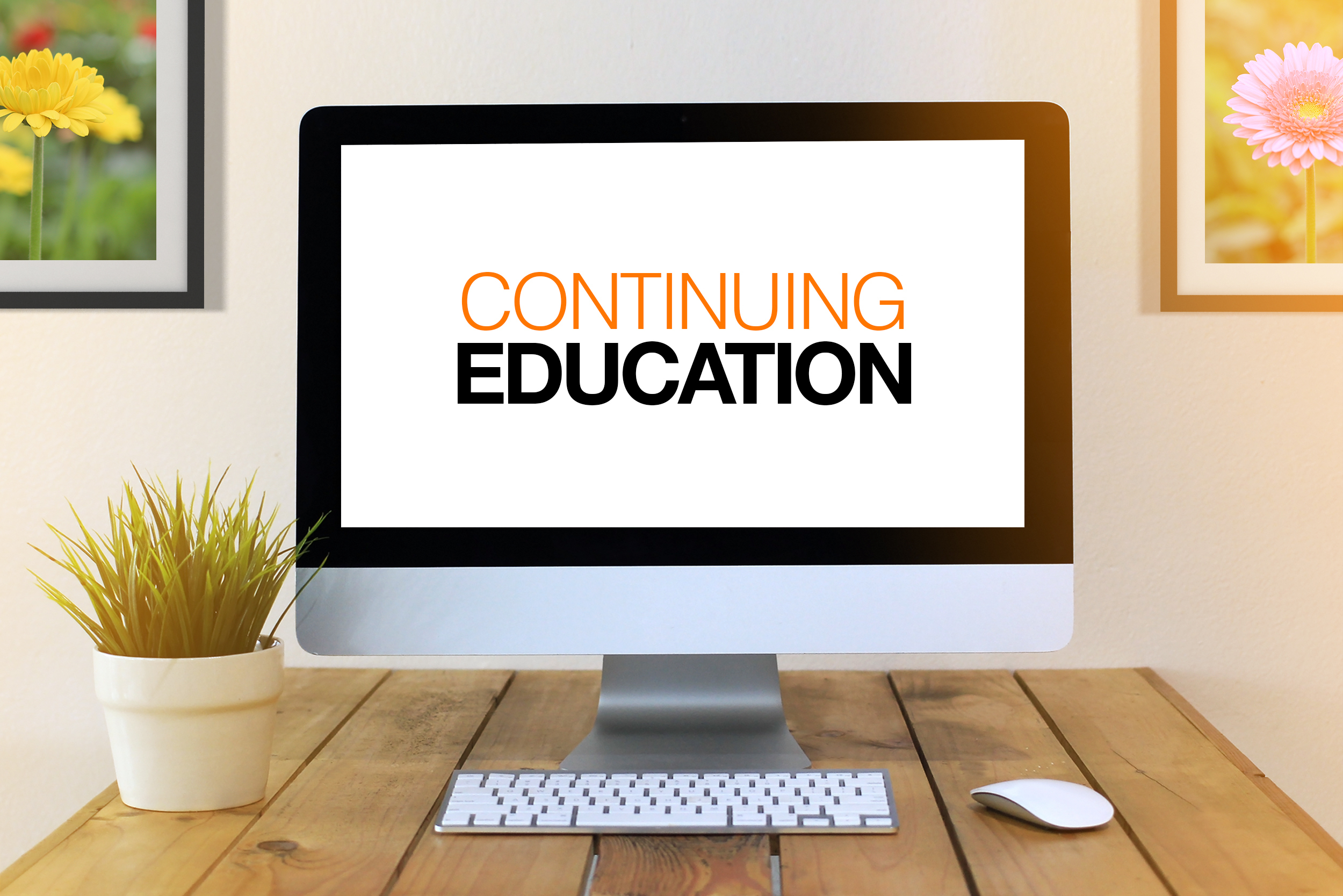 continuing education concept on monitor screen